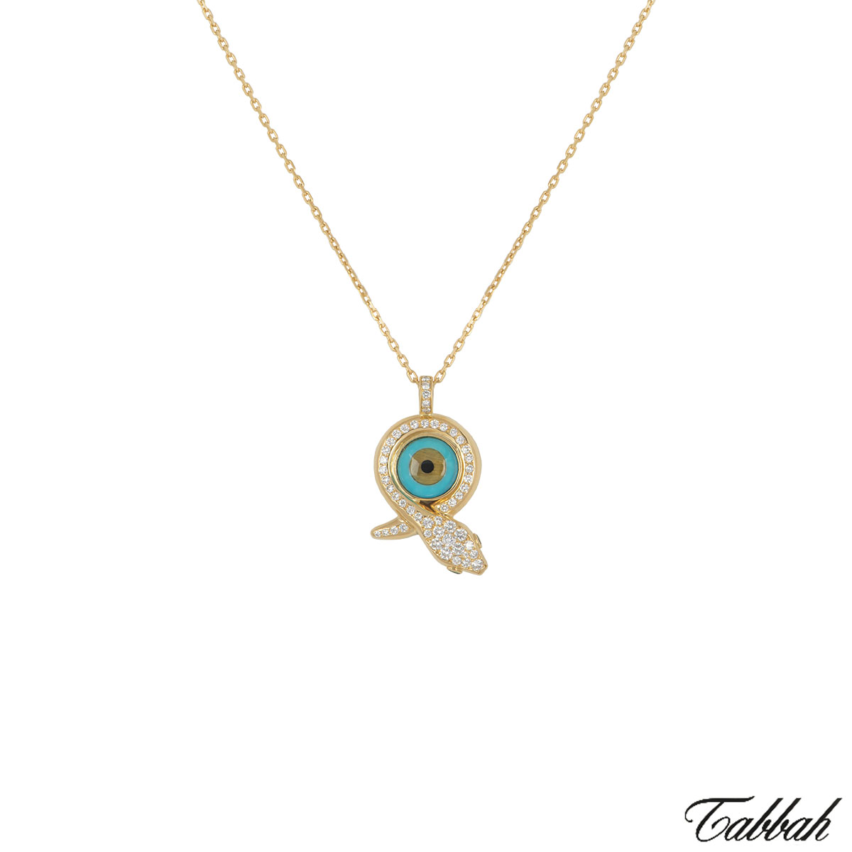 Tabbah Yellow Gold Eye Snake Diamond Pendant